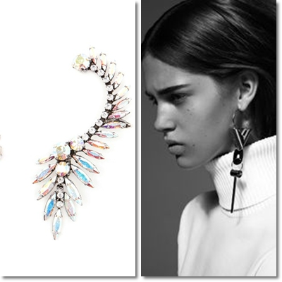 Mono earrings bright and filled with precious diamonds by Celine and Louis Vuitton